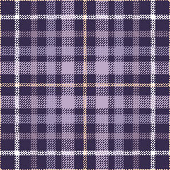 Seamless tartan plaid pattern. Traditional checker fabric texture for digital textile printing. Madras design in shades of purple, white and beige.