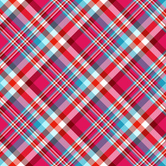 Seamless tartan plaid pattern. Madras design in stripes of light teal green, pale cyan, red, bright fuchsia pink and white.
