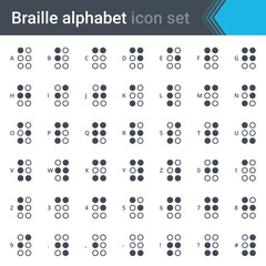 Braille alphabet simple thin icon set isolated on white background