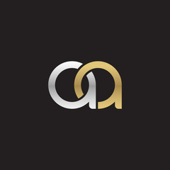 Initial lowercase letter aa, linked overlapping circle chain shape logo, silver gold colors on black background