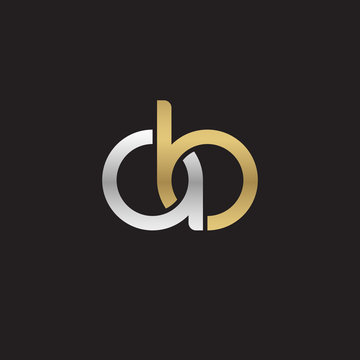 Initial lowercase letter ab, linked overlapping circle chain shape logo, silver gold colors on black background