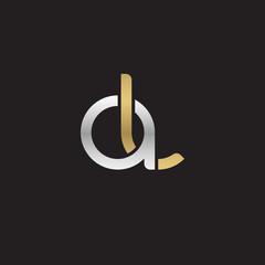 Initial lowercase letter al, linked overlapping circle chain shape logo, silver gold colors on black background