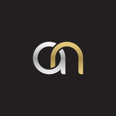 Initial lowercase letter an, linked overlapping circle chain shape logo, silver gold colors on black background