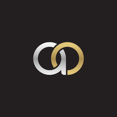 Initial lowercase letter ao, linked overlapping circle chain shape logo, silver gold colors on black background