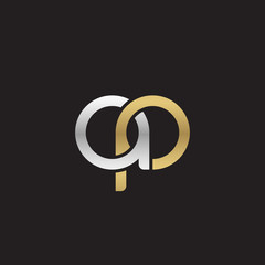 Initial lowercase letter ap, linked overlapping circle chain shape logo, silver gold colors on black background