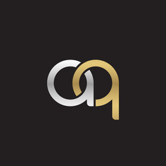 Initial lowercase letter aq, linked overlapping circle chain shape logo, silver gold colors on black background