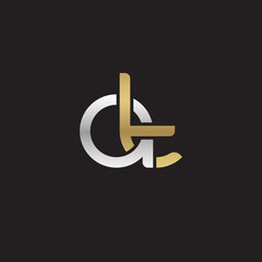 Initial lowercase letter at, linked overlapping circle chain shape logo, silver gold colors on black background