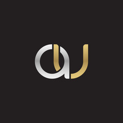Initial lowercase letter au, linked overlapping circle chain shape logo, silver gold colors on black background