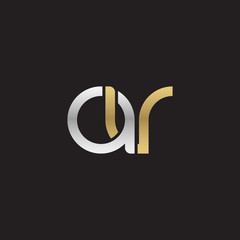 Initial lowercase letter av, linked overlapping circle chain shape logo, silver gold colors on black background