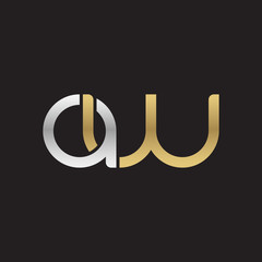 Initial lowercase letter aw, linked overlapping circle chain shape logo, silver gold colors on black background