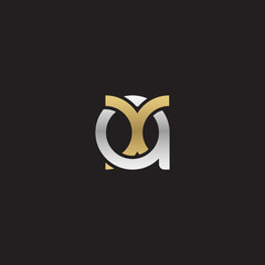 Initial lowercase letter ax, xa, linked overlapping circle chain shape logo, silver gold colors on black background