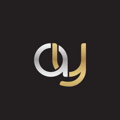 Initial lowercase letter ay, linked overlapping circle chain shape logo, silver gold colors on black background