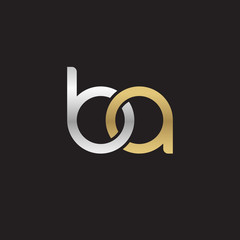 Initial lowercase letter ba, linked overlapping circle chain shape logo, silver gold colors on black background