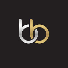 Initial lowercase letter bb, linked overlapping circle chain shape logo, silver gold colors on black background