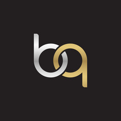 Initial lowercase letter bq, linked overlapping circle chain shape logo, silver gold colors on black background