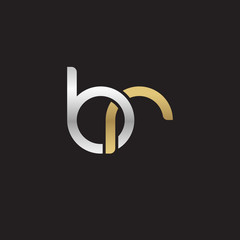 Initial lowercase letter br, linked overlapping circle chain shape logo, silver gold colors on black background