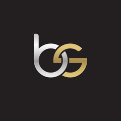Initial lowercase letter bs, linked overlapping circle chain shape logo, silver gold colors on black background