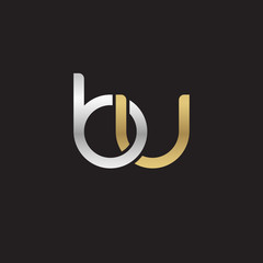 Initial lowercase letter bu, linked overlapping circle chain shape logo, silver gold colors on black background