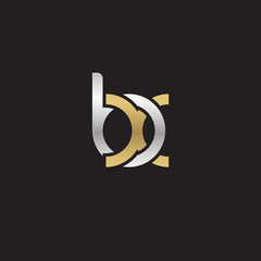 Initial lowercase letter bx, linked overlapping circle chain shape logo, silver gold colors on black background