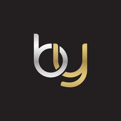 Initial lowercase letter by, linked overlapping circle chain shape logo, silver gold colors on black background