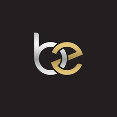 Initial lowercase letter bz, linked overlapping circle chain shape logo, silver gold colors on black background