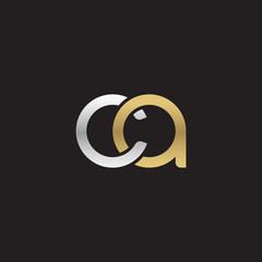 Initial lowercase letter ca, linked overlapping circle chain shape logo, silver gold colors on black background
