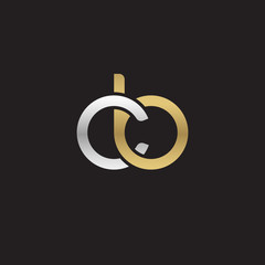 Initial lowercase letter cb, linked overlapping circle chain shape logo, silver gold colors on black background