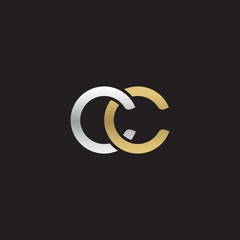 Initial lowercase letter cc, linked overlapping circle chain shape logo, silver gold colors on black background