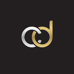 Initial lowercase letter cd, linked overlapping circle chain shape logo, silver gold colors on black background