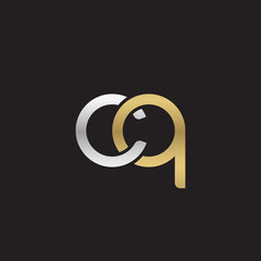 Initial lowercase letter cq, linked overlapping circle chain shape logo, silver gold colors on black background
