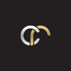 Initial lowercase letter cr, linked overlapping circle chain shape logo, silver gold colors on black background