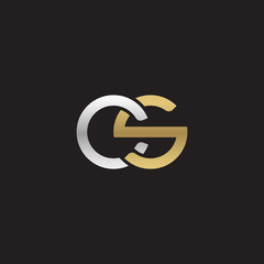 Initial lowercase letter cs, linked overlapping circle chain shape logo, silver gold colors on black background