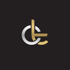 Initial lowercase letter ct, linked overlapping circle chain shape logo, silver gold colors on black background