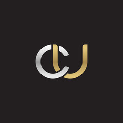 Initial lowercase letter cu, linked overlapping circle chain shape logo, silver gold colors on black background