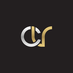Initial lowercase letter cv, linked overlapping circle chain shape logo, silver gold colors on black background