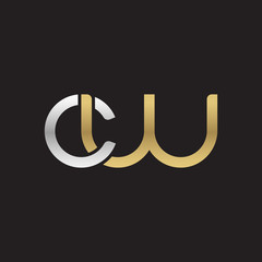 Initial lowercase letter cw, linked overlapping circle chain shape logo, silver gold colors on black background