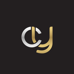 Initial lowercase letter cy, linked overlapping circle chain shape logo, silver gold colors on black background