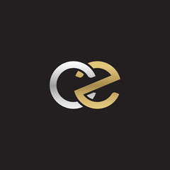 Initial lowercase letter cz, linked overlapping circle chain shape logo, silver gold colors on black background