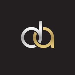 Initial lowercase letter da, linked overlapping circle chain shape logo, silver gold colors on black background