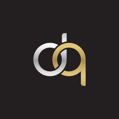 Initial lowercase letter dq, linked overlapping circle chain shape logo, silver gold colors on black background