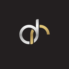 Initial lowercase letter dr, linked overlapping circle chain shape logo, silver gold colors on black background