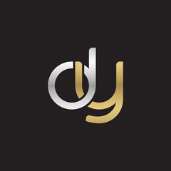 Initial lowercase letter dy, linked overlapping circle chain shape logo, silver gold colors on black background