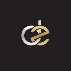Initial lowercase letter dz, linked overlapping circle chain shape logo, silver gold colors on black background