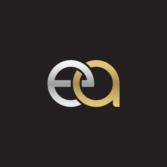 Initial lowercase letter ea, linked overlapping circle chain shape logo, silver gold colors on black background