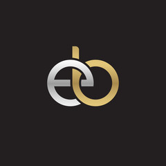 Initial lowercase letter eb, linked overlapping circle chain shape logo, silver gold colors on black background
