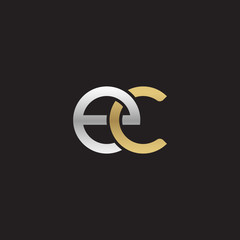 Initial lowercase letter ec, linked overlapping circle chain shape logo, silver gold colors on black background