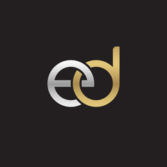 Initial lowercase letter ed, linked overlapping circle chain shape logo, silver gold colors on black background