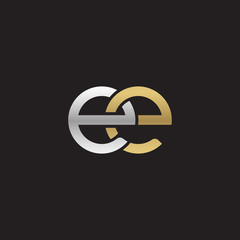 Initial lowercase letter ee, linked overlapping circle chain shape logo, silver gold colors on black background