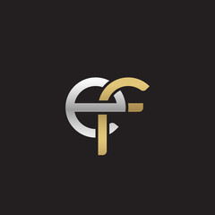 Initial lowercase letter ef, linked overlapping circle chain shape logo, silver gold colors on black background