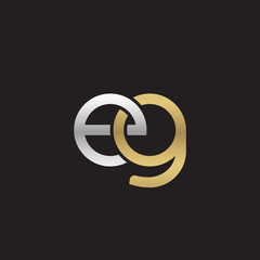 Initial lowercase letter eg, linked overlapping circle chain shape logo, silver gold colors on black background